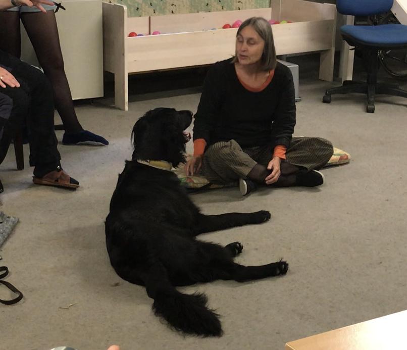 犬が興奮している時は、人は冷静に…飼い主さんが床に座り、犬が落ち着くのを待ちます。